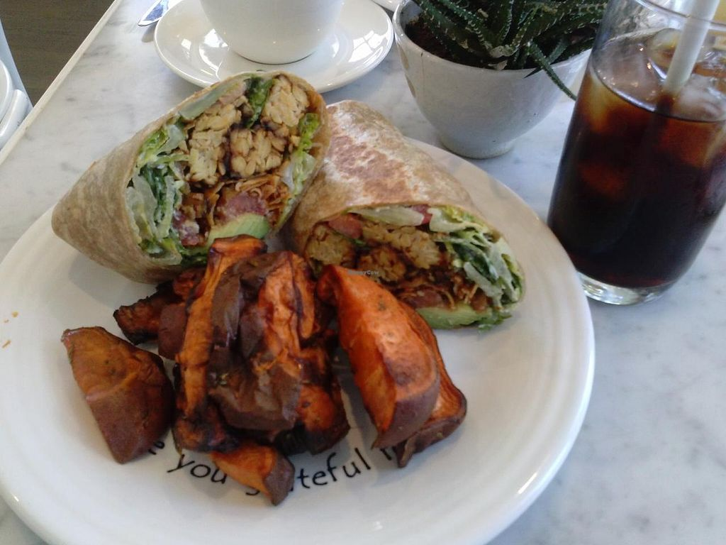"""Photo of Cafe Gratitude - DTLA  by <a href=""""/members/profile/Sonja%20and%20Dirk"""" class=""""title__title"""">Sonja and Dirk</a> <br/>Caesar tempeh wrap with roasted yams <br/> July 14, 2015  - <a href='/contact/abuse/image/57026/109393'>Report</a>"""