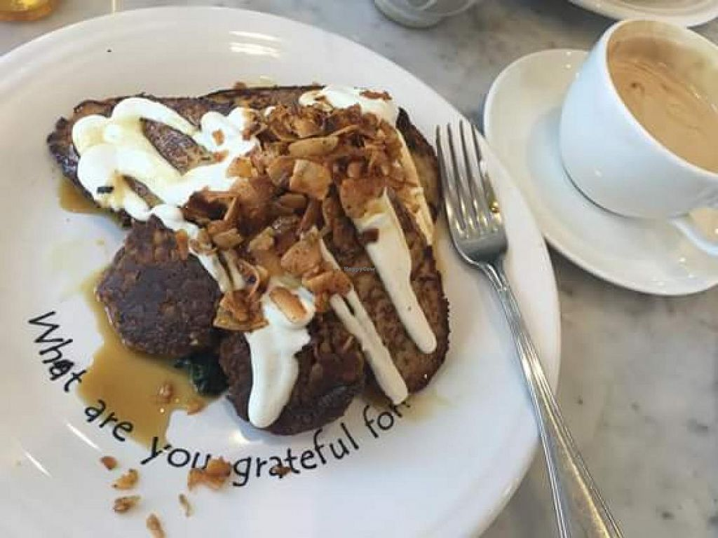 """Photo of Cafe Gratitude - DTLA  by <a href=""""/members/profile/Sonja%20and%20Dirk"""" class=""""title__title"""">Sonja and Dirk</a> <br/>French toast <br/> July 14, 2015  - <a href='/contact/abuse/image/57026/109394'>Report</a>"""