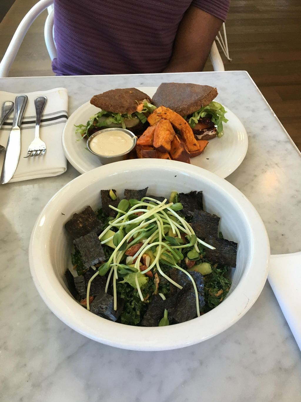 """Photo of Cafe Gratitude - DTLA  by <a href=""""/members/profile/veganzinga"""" class=""""title__title"""">veganzinga</a> <br/>Salad and burger <br/> December 31, 2015  - <a href='/contact/abuse/image/57026/130531'>Report</a>"""