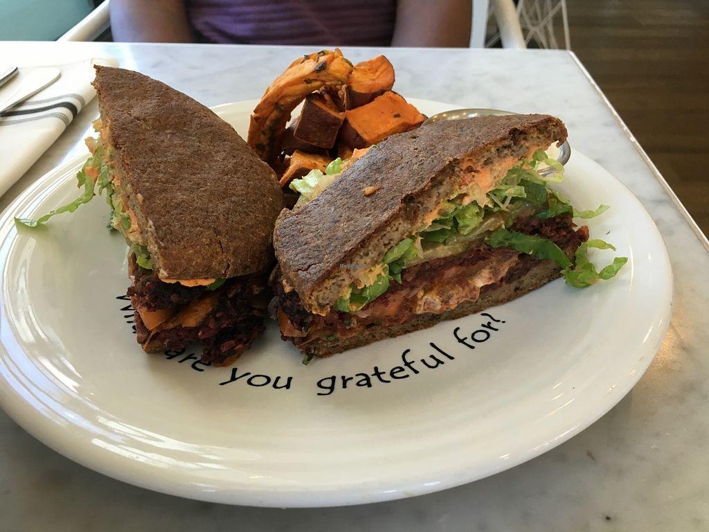 "Photo of Cafe Gratitude - DTLA  by <a href=""/members/profile/veganzinga"" class=""title__title"">veganzinga</a> <br/>Closeup of the burger <br/> December 31, 2015  - <a href='/contact/abuse/image/57026/130533'>Report</a>"