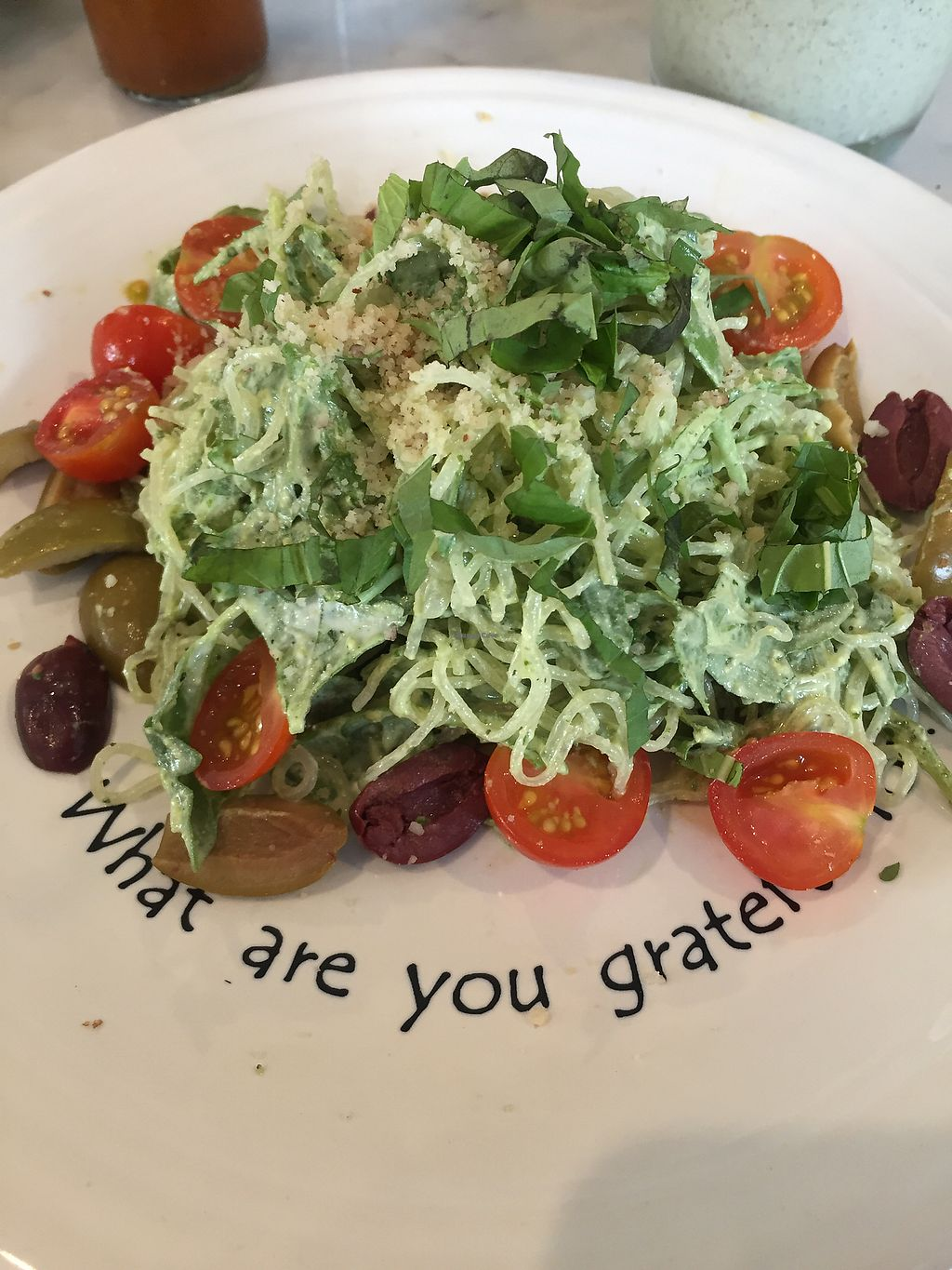 """Photo of Cafe Gratitude - DTLA  by <a href=""""/members/profile/R-MV"""" class=""""title__title"""">R-MV</a> <br/>I Am Liberated: Raw Pesto Kelp Noodles <br/> September 16, 2017  - <a href='/contact/abuse/image/57026/305155'>Report</a>"""