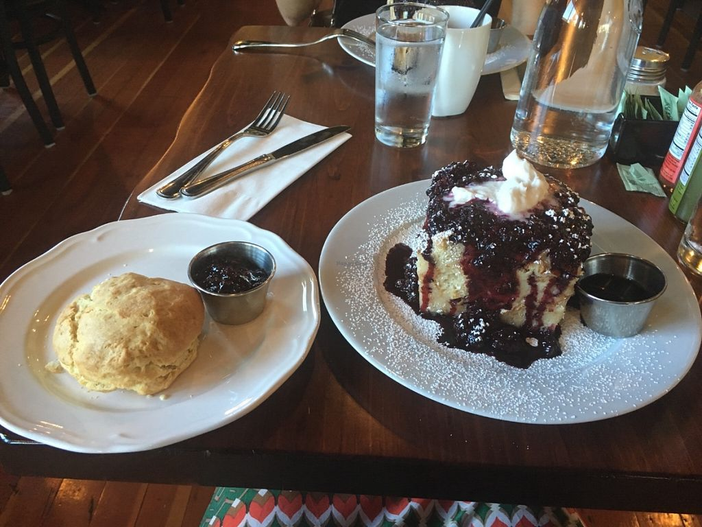 "Photo of CLOSED: Harvest at The Bindery  by <a href=""/members/profile/Kchavez"">Kchavez</a> <br/>The buiscit with berry preserves and the French Toast. Saturday Brunch menu.  <br/> June 26, 2016  - <a href='/contact/abuse/image/57042/156171'>Report</a>"