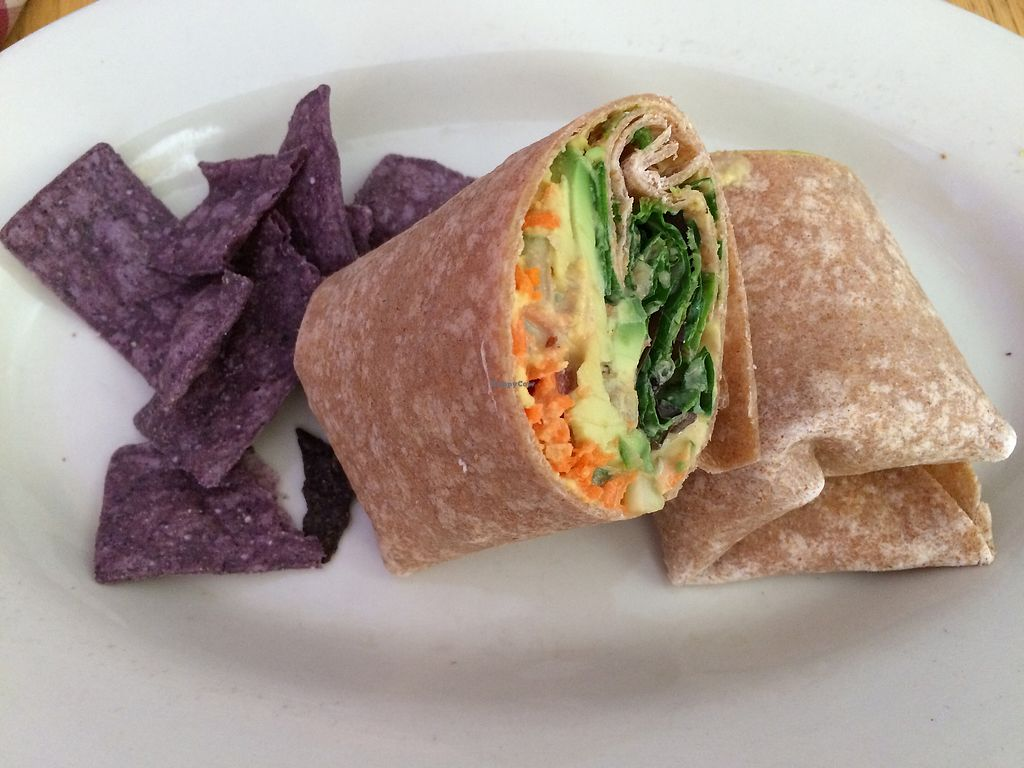 """Photo of Willows Plant-Based Eatery  by <a href=""""/members/profile/veganmamaof4"""">veganmamaof4</a> <br/>om shanti wrap <br/> August 3, 2017  - <a href='/contact/abuse/image/57078/288395'>Report</a>"""