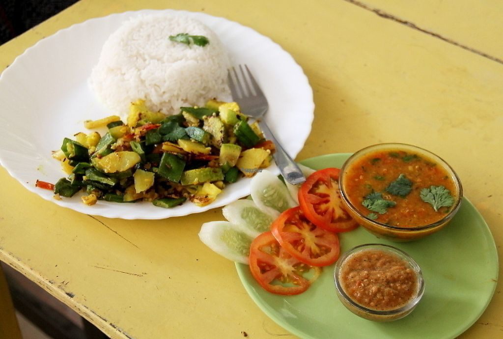 """Photo of Vegan and Raw  by <a href=""""/members/profile/reissausta%20ja%20ruokaa"""">reissausta ja ruokaa</a> <br/>Vegan thali. It wasn´t really a thali in my opinion, because usually in thali there´s more small dishes.  <br/> December 6, 2016  - <a href='/contact/abuse/image/57085/197823'>Report</a>"""