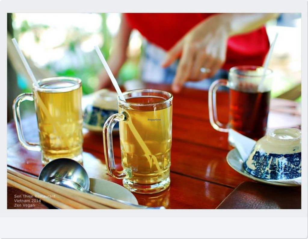 """Photo of Sen Thien Quan  by <a href=""""/members/profile/VanVeganHanoi"""">VanVeganHanoi</a> <br/>Red bean Tea and Mã Đề Tea (a sort of roots fusion tea)  <br/> February 13, 2016  - <a href='/contact/abuse/image/57088/136005'>Report</a>"""