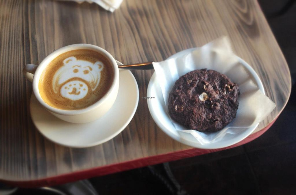 """Photo of Red Pipe Organic Cafe  by <a href=""""/members/profile/Babyshka"""">Babyshka</a> <br/>Latte art and some sweets  <br/> April 3, 2015  - <a href='/contact/abuse/image/57108/97708'>Report</a>"""