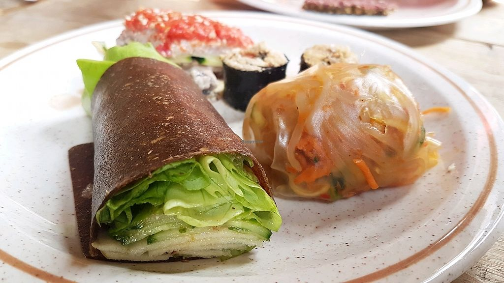 "Photo of Moonfood  by <a href=""/members/profile/VeganCrush"">VeganCrush</a> <br/>raw zicchini wrap, raw sushi, thai roll <br/> September 24, 2017  - <a href='/contact/abuse/image/57113/307736'>Report</a>"