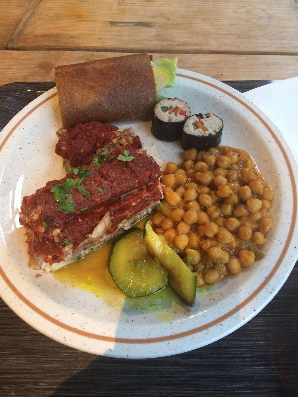 "Photo of Moonfood  by <a href=""/members/profile/sabrinajh"">sabrinajh</a> <br/>My plate. Cost about 15€. It includes the lasagna (very nice), and the chickpeas were in a curry sauce (my favourite item on the plate).  <br/> January 8, 2018  - <a href='/contact/abuse/image/57113/344355'>Report</a>"