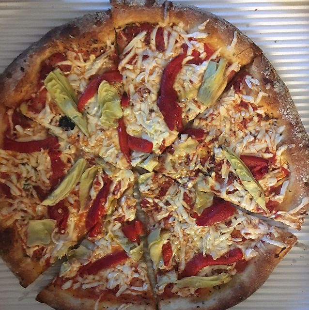 """Photo of Brooklyn Boyz Italian Eatery  by <a href=""""/members/profile/nardanddee"""">nardanddee</a> <br/>vegan pizza w red peppers garlic and artichokes <br/> June 23, 2017  - <a href='/contact/abuse/image/57136/272463'>Report</a>"""
