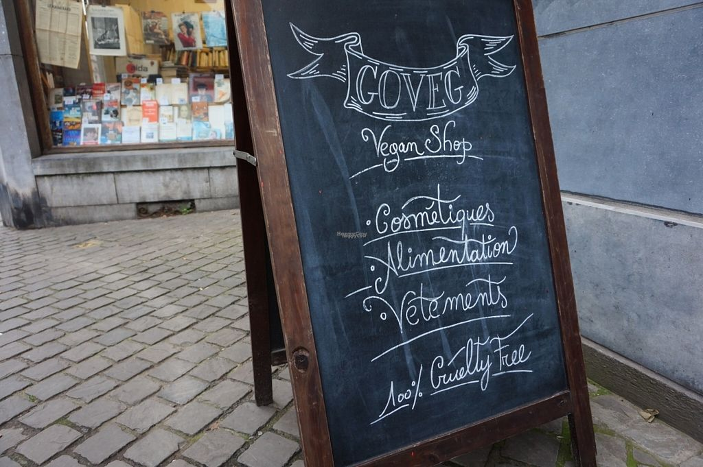 """Photo of Goveg Vegan Shop  by <a href=""""/members/profile/MMaree"""">MMaree</a> <br/>Outside sign <br/> October 29, 2016  - <a href='/contact/abuse/image/57148/185165'>Report</a>"""
