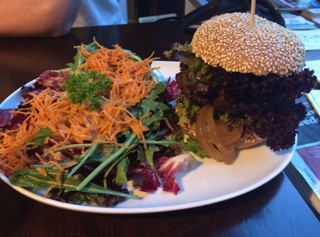 "Photo of Roots  by <a href=""/members/profile/annabazoo"">annabazoo</a> <br/>veggie burger with roasted veggies <br/> August 8, 2015  - <a href='/contact/abuse/image/57177/128065'>Report</a>"