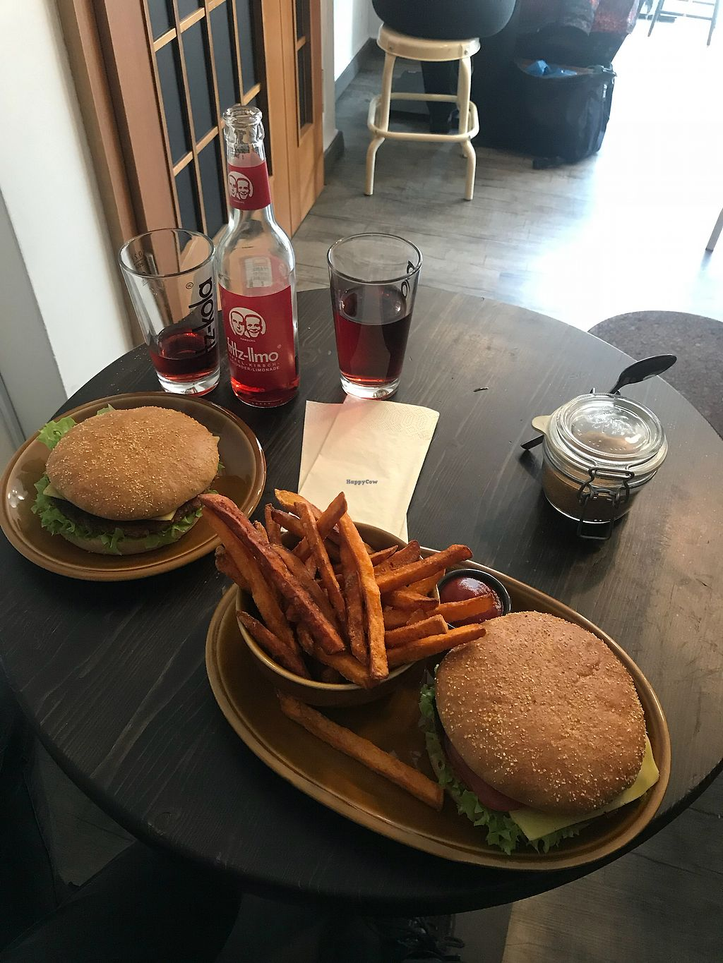 "Photo of Roots  by <a href=""/members/profile/SzapuDominika"">SzapuDominika</a> <br/>Vegan cheeseburgers and sweet potato fries  <br/> February 9, 2018  - <a href='/contact/abuse/image/57177/356766'>Report</a>"