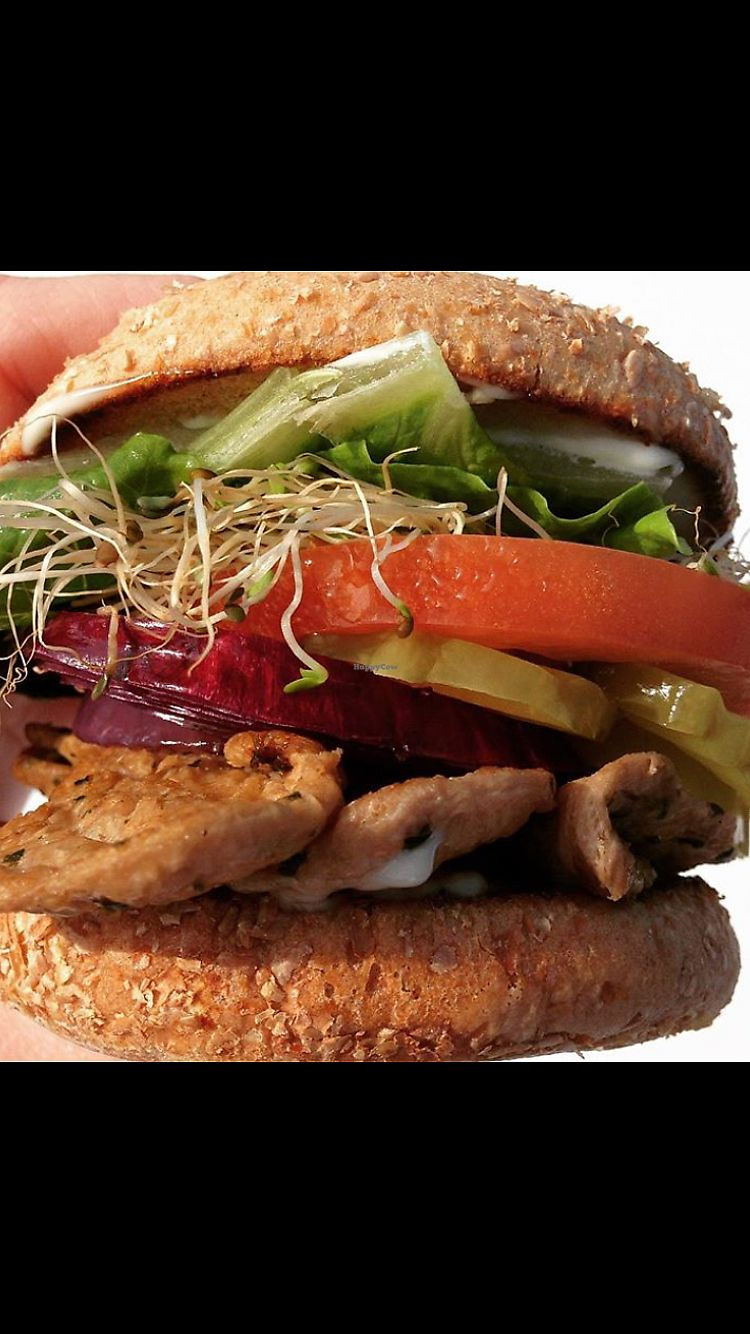 """Photo of The Vegan Joint - DTLA  by <a href=""""/members/profile/heathenvegan"""">heathenvegan</a> <br/>Beef Burger <br/> April 1, 2018  - <a href='/contact/abuse/image/57238/379402'>Report</a>"""