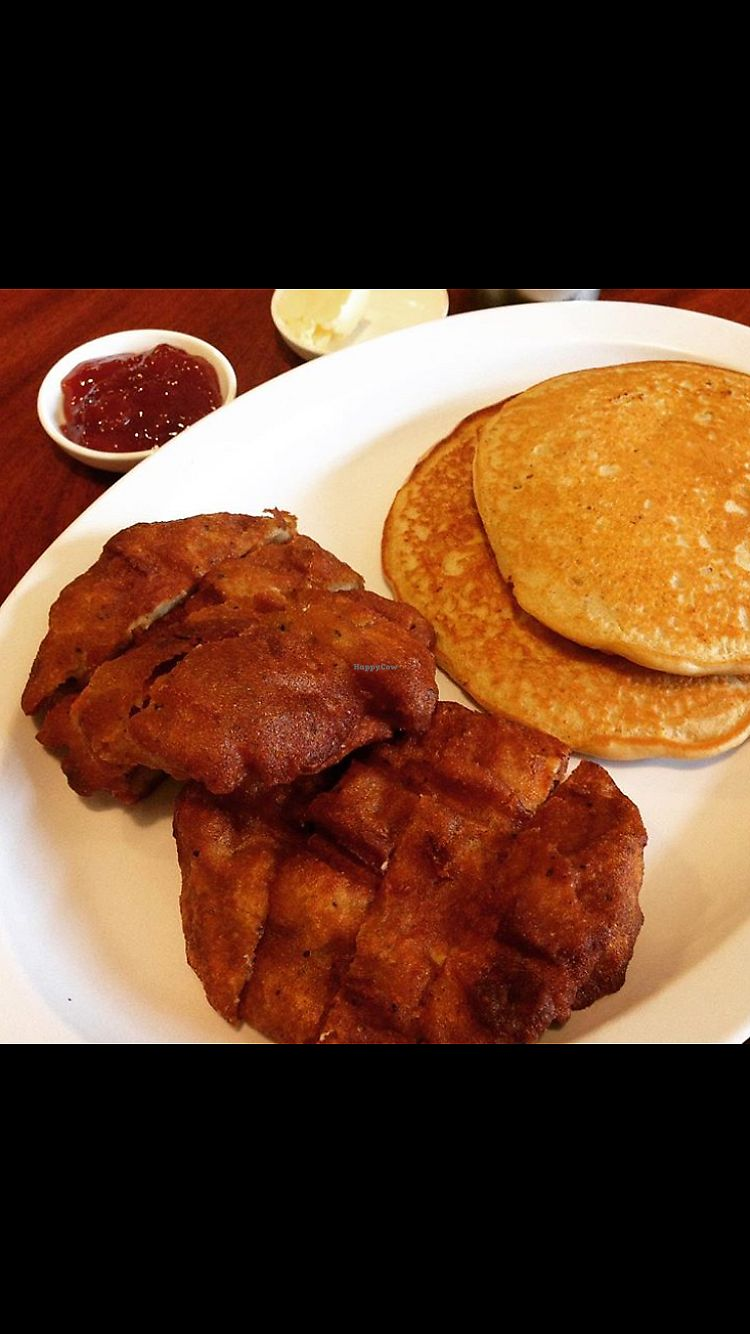 """Photo of The Vegan Joint - DTLA  by <a href=""""/members/profile/heathenvegan"""">heathenvegan</a> <br/>Chickun and Pancakes  <br/> April 1, 2018  - <a href='/contact/abuse/image/57238/379408'>Report</a>"""