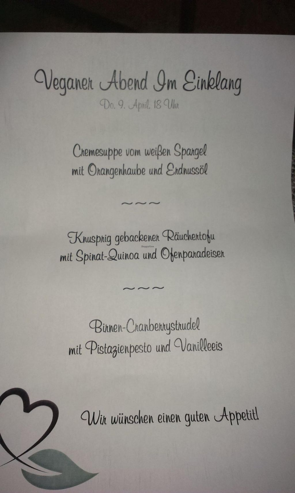 """Photo of CLOSED: Im Einklang Landgasthaus  by <a href=""""/members/profile/christa.fleck"""">christa.fleck</a> <br/>The 3-course menu <br/> April 10, 2015  - <a href='/contact/abuse/image/57264/98496'>Report</a>"""