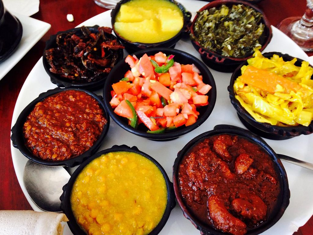 """Photo of Ethiopic Restaurant  by <a href=""""/members/profile/cookiem"""">cookiem</a> <br/>Veg sampler II- all vegan!!! <br/> April 8, 2015  - <a href='/contact/abuse/image/57275/98352'>Report</a>"""