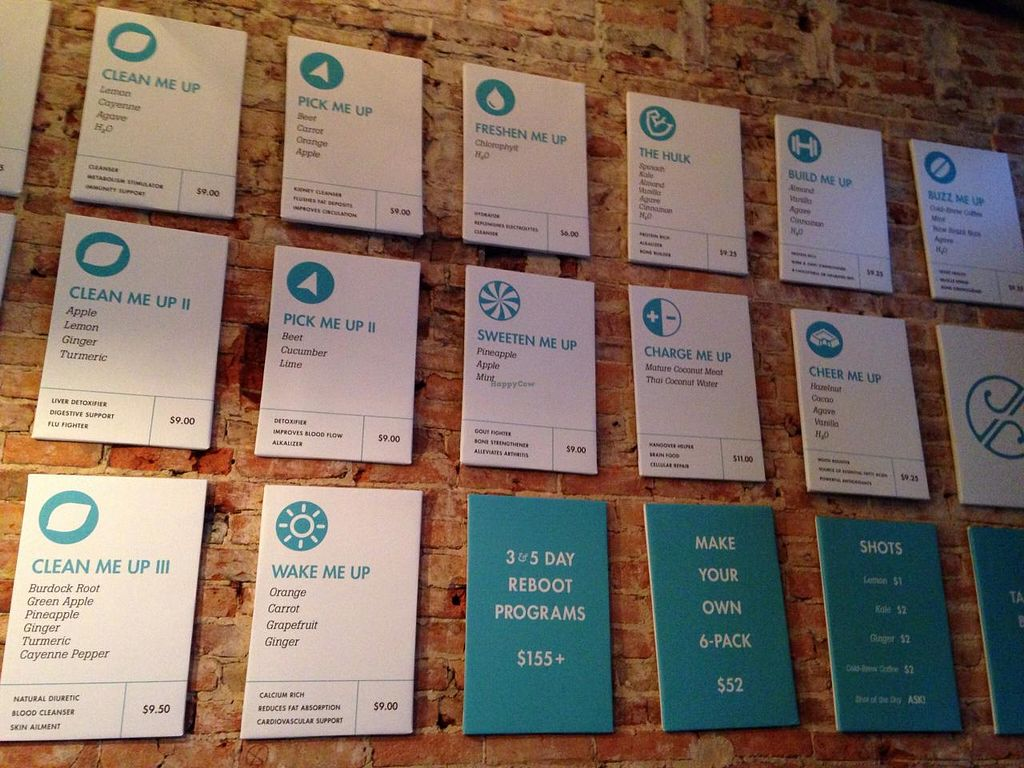 """Photo of Jrink Juicery - 14th St  by <a href=""""/members/profile/cookiem"""">cookiem</a> <br/>Menu boards for each jrink <br/> April 28, 2015  - <a href='/contact/abuse/image/57278/100567'>Report</a>"""