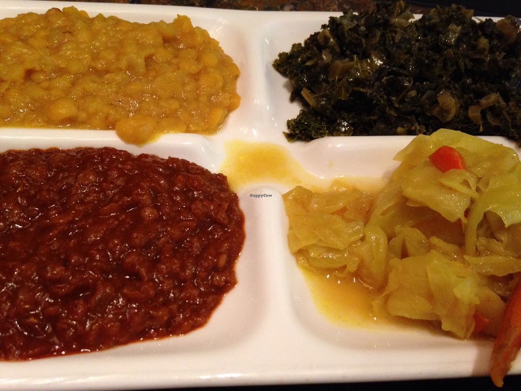 """Photo of Askale Cafe  by <a href=""""/members/profile/cookiem"""">cookiem</a> <br/>Vegan 4-entree sampler <br/> August 6, 2015  - <a href='/contact/abuse/image/57279/112555'>Report</a>"""