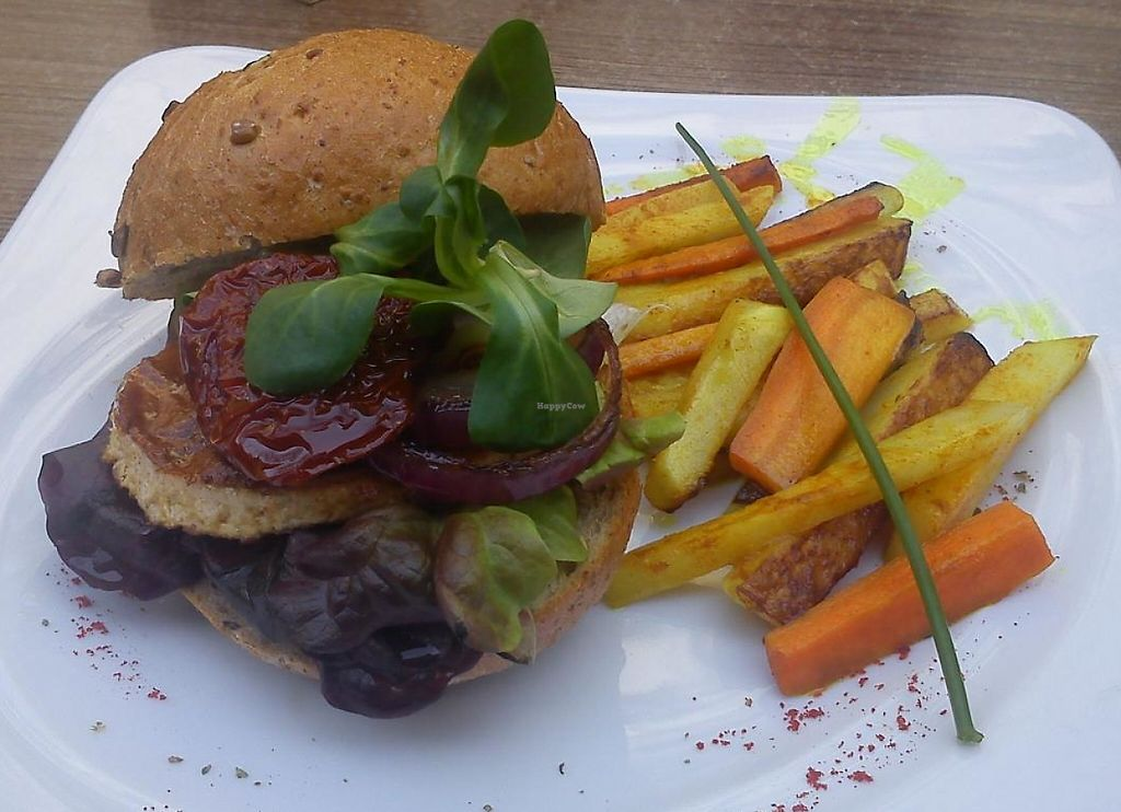"""Photo of CLOSED: Green Spirit  by <a href=""""/members/profile/Tereza-soucitne.cz"""">Tereza-soucitne.cz</a> <br/>Amazing tofu burger (marinated tofu, dried tomatoes, lettuce, arugula, red onion, dijon mustard) with turnip-carrots fries <br/> April 9, 2015  - <a href='/contact/abuse/image/57301/237339'>Report</a>"""