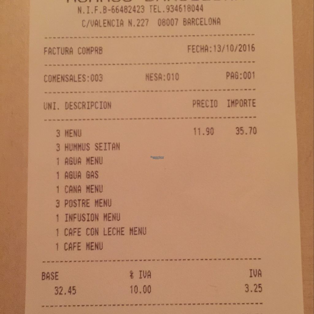 """Photo of Hummus Barcelona  by <a href=""""/members/profile/Galis"""">Galis</a> <br/>Lunch for 3... so cheap! :) <br/> October 13, 2016  - <a href='/contact/abuse/image/57327/181857'>Report</a>"""