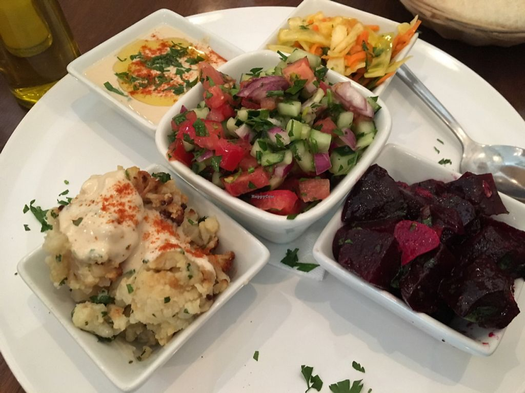"""Photo of Hummus Barcelona  by <a href=""""/members/profile/VeganMandarina"""">VeganMandarina</a> <br/>salad party for 3 ... amazing <br/> June 6, 2017  - <a href='/contact/abuse/image/57327/266281'>Report</a>"""