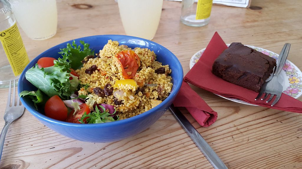 "Photo of The Cornerhouse Cafe  by <a href=""/members/profile/IceColdIce"">IceColdIce</a> <br/>vegan couscous salad and brownie <br/> August 9, 2016  - <a href='/contact/abuse/image/57336/167150'>Report</a>"