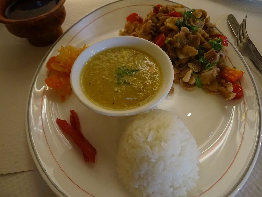 "Photo of Pema Thang  by <a href=""/members/profile/Miggi"">Miggi</a> <br/>Main dish - Spicy thin sliced veg protein, salad, rice, dahl <br/> July 5, 2016  - <a href='/contact/abuse/image/57351/157944'>Report</a>"