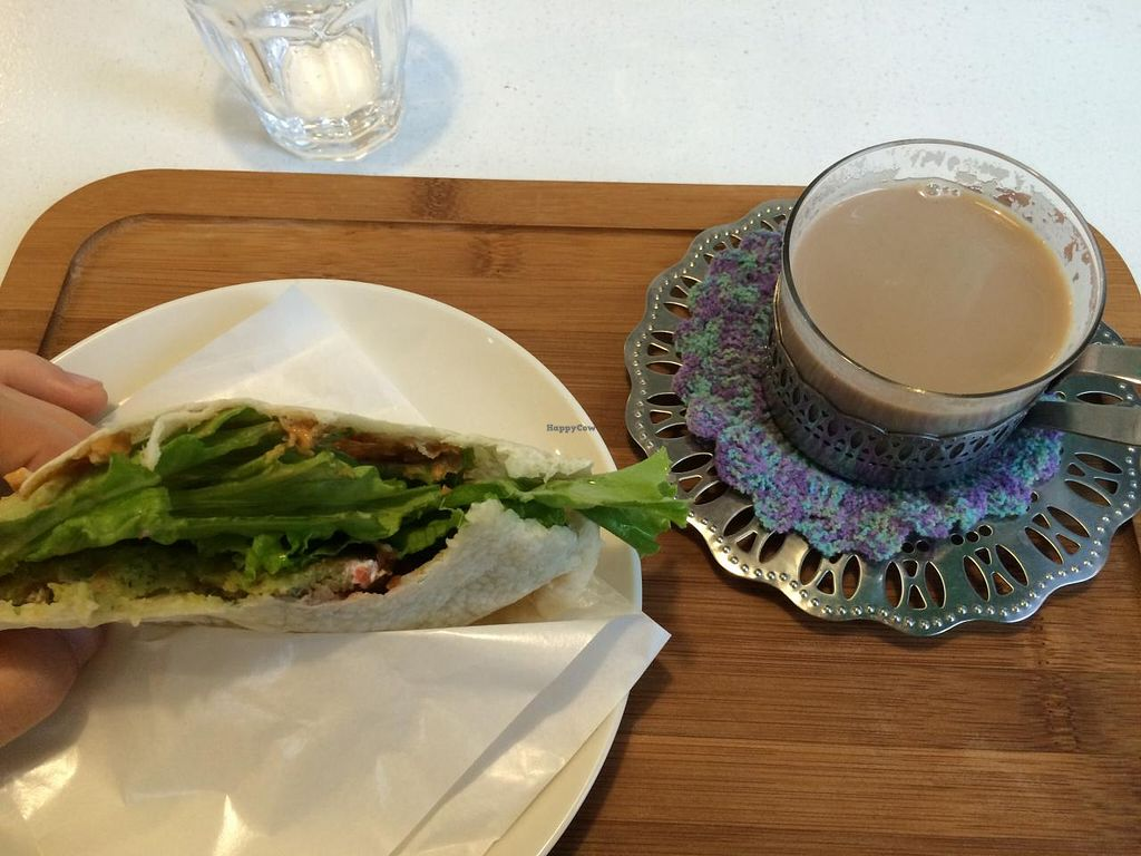 """Photo of Hachi Cafe  by <a href=""""/members/profile/thepianowindow"""">thepianowindow</a> <br/>Amazing falafel pita sandwich! <br/> July 4, 2015  - <a href='/contact/abuse/image/57386/108177'>Report</a>"""