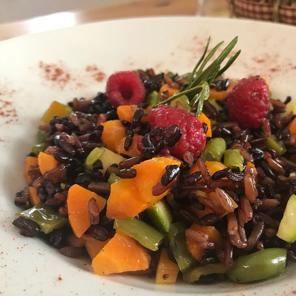 """Photo of Selezione Naturale  by <a href=""""/members/profile/NatalieDowelMcIntosh"""">NatalieDowelMcIntosh</a> <br/>Black rice with vegetables & rosemary  <br/> August 7, 2017  - <a href='/contact/abuse/image/57407/290078'>Report</a>"""