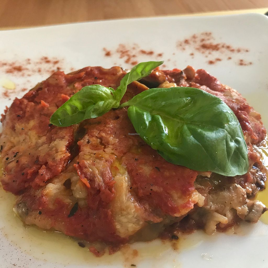 """Photo of Selezione Naturale  by <a href=""""/members/profile/NatalieDowelMcIntosh"""">NatalieDowelMcIntosh</a> <br/>Vegan Aubergine Parmigiana  <br/> August 7, 2017  - <a href='/contact/abuse/image/57407/290079'>Report</a>"""