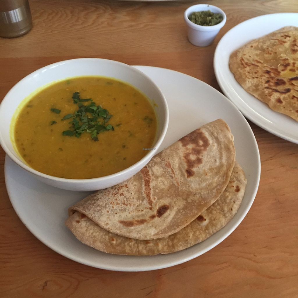 """Photo of Ranjit's Kitchen  by <a href=""""/members/profile/Ghiribizzo"""">Ghiribizzo</a> <br/>Red lentil daal with roti and parantha <br/> August 2, 2015  - <a href='/contact/abuse/image/57422/111980'>Report</a>"""