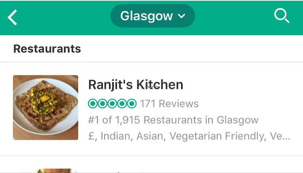 """Photo of Ranjit's Kitchen  by <a href=""""/members/profile/Ghiribizzo"""">Ghiribizzo</a> <br/>No.1 in Glasgow! <br/> May 24, 2017  - <a href='/contact/abuse/image/57422/262090'>Report</a>"""