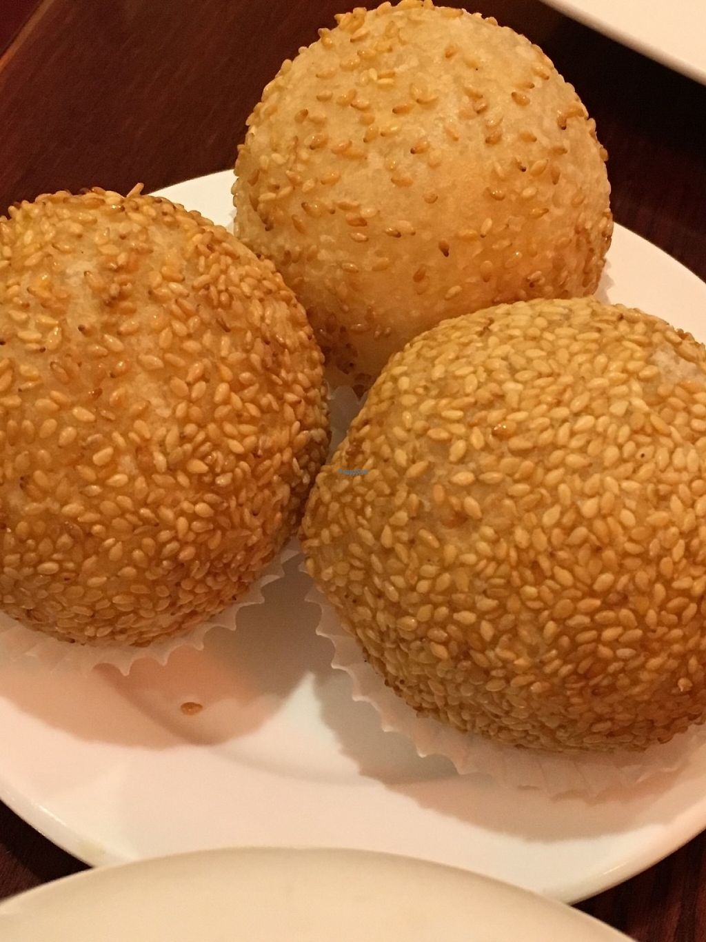 """Photo of Buddha Bodai - Mulberry St  by <a href=""""/members/profile/cookiem"""">cookiem</a> <br/>Sesame rice balls w sweet bean filling <br/> January 27, 2017  - <a href='/contact/abuse/image/57438/217987'>Report</a>"""