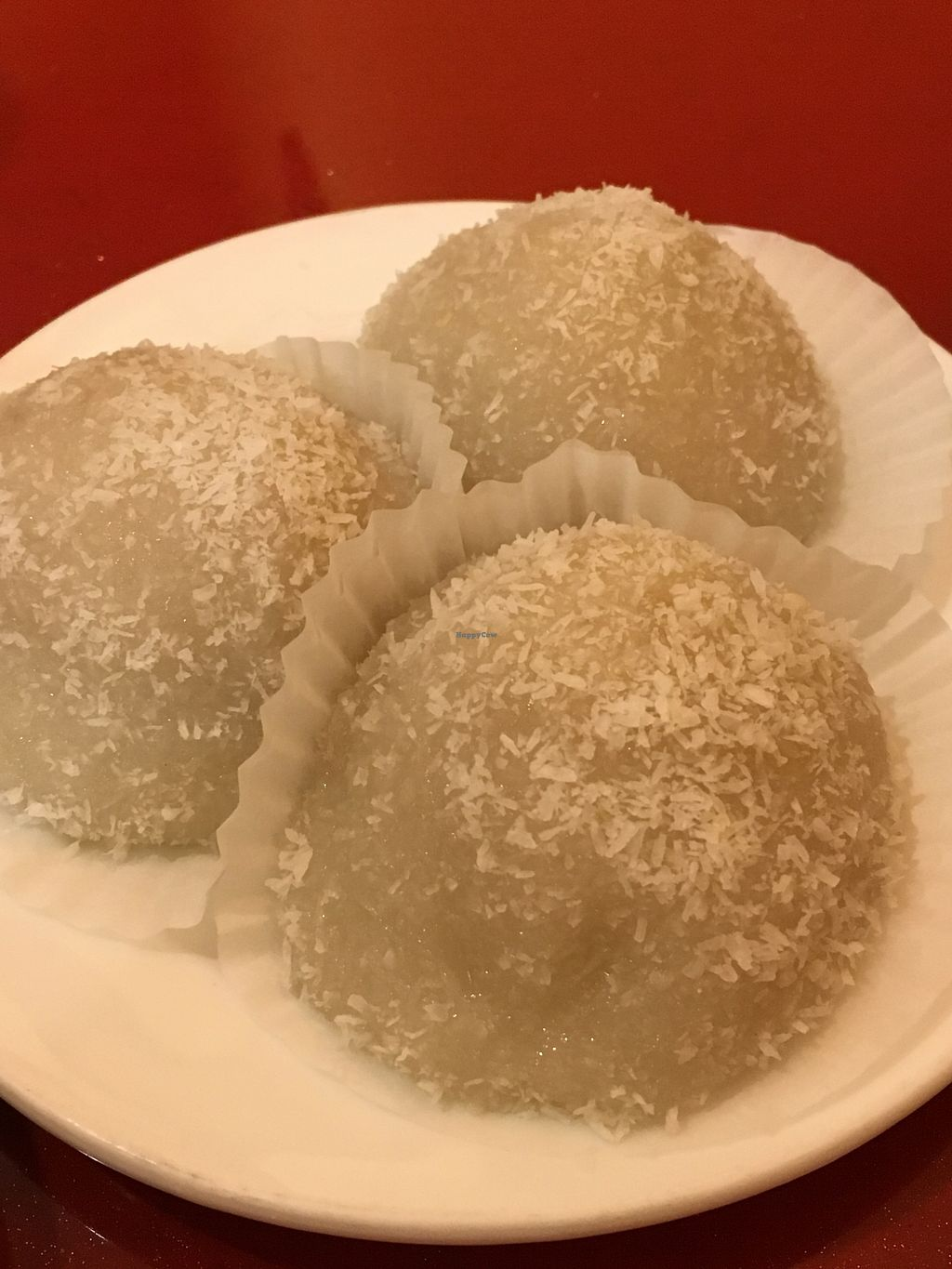 """Photo of Buddha Bodai - Mulberry St  by <a href=""""/members/profile/cookiem"""">cookiem</a> <br/>Rice balls with coconut, sesame and peanut filling <br/> July 31, 2017  - <a href='/contact/abuse/image/57438/287210'>Report</a>"""
