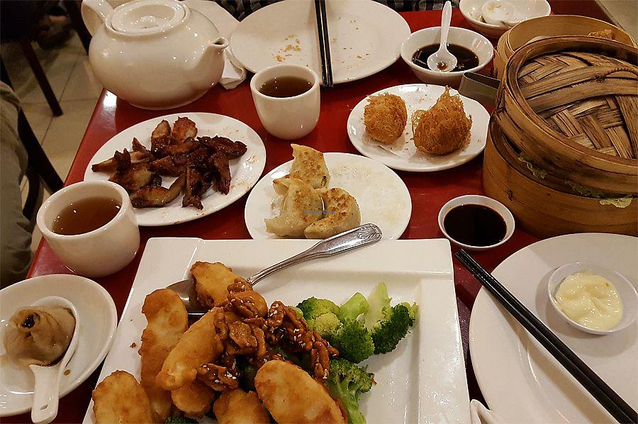 "Photo of Buddha Bodai - Mulberry St  by <a href=""/members/profile/Seiashun"">Seiashun</a> <br/>BBQ veg meat, fried taro dumplings, pan fried dumplings, soup dumplings, fake shrimp with walnut, shumai, tea <br/> October 14, 2017  - <a href='/contact/abuse/image/57438/315203'>Report</a>"
