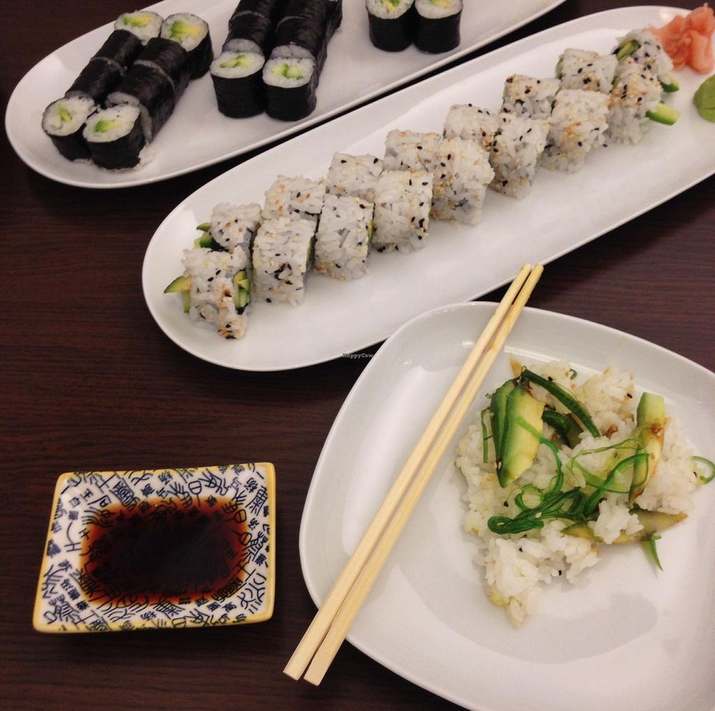 """Photo of Yumi Sushi  by <a href=""""/members/profile/simmiefairy"""">simmiefairy</a> <br/>Maki rolls, inside-out rolls and salad <br/> April 14, 2015  - <a href='/contact/abuse/image/57464/99064'>Report</a>"""