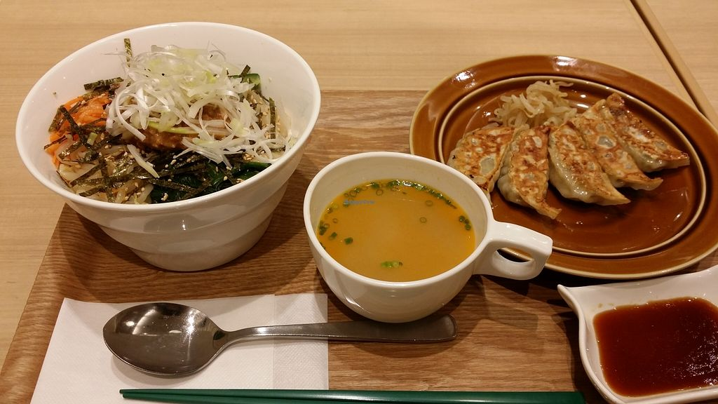 """Photo of T's Tan Tan  by <a href=""""/members/profile/Jeane"""">Jeane</a> <br/>Vege bibimbap (880¥), dumplings (380¥) and soup (offered) <br/> September 15, 2015  - <a href='/contact/abuse/image/57492/117813'>Report</a>"""