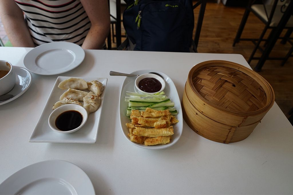 "Photo of Loving Hut - North Laine  by <a href=""/members/profile/DanielBrunt"">DanielBrunt</a> <br/>Dumplings and crispy duck pancakes <br/> October 15, 2017  - <a href='/contact/abuse/image/57500/315508'>Report</a>"