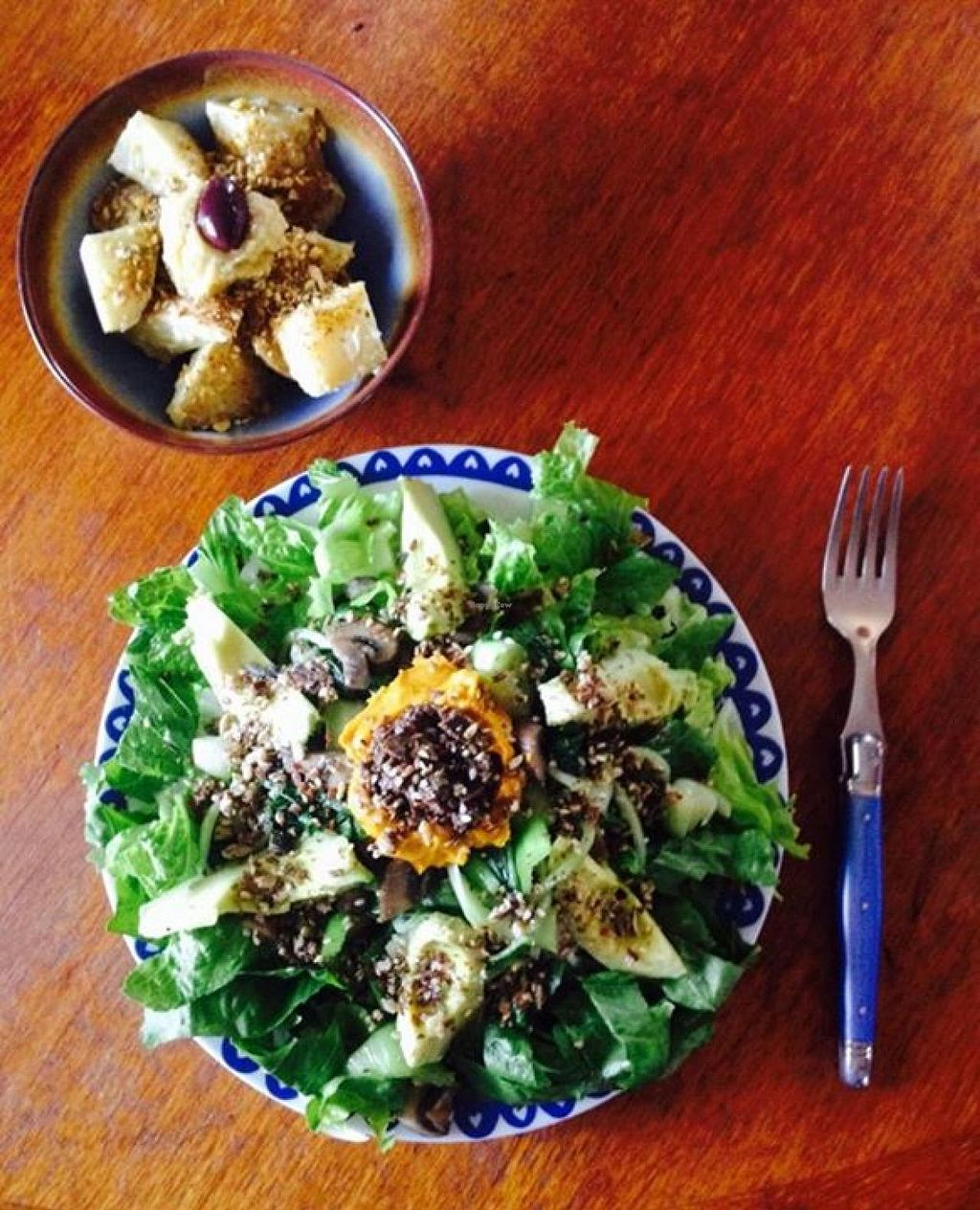 """Photo of The Conscious Caravan - Food Van  by <a href=""""/members/profile/foodgarden"""">foodgarden</a> <br/>Roast pumpkin salad, all vegan <br/> April 16, 2015  - <a href='/contact/abuse/image/57512/99284'>Report</a>"""