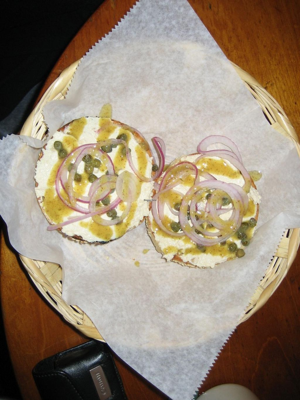 "Photo of Los Bagels  by <a href=""/members/profile/vegan%20frog"">vegan frog</a> <br/>Vegan capers bagel <br/> January 3, 2014  - <a href='/contact/abuse/image/5752/61644'>Report</a>"