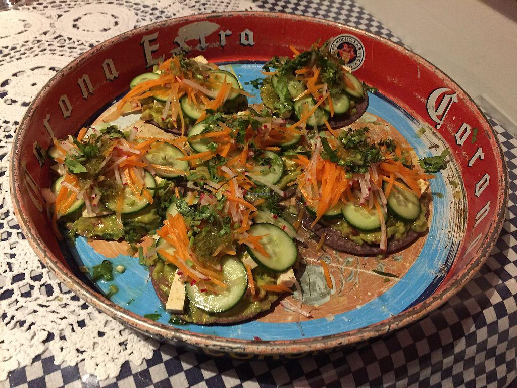 "Photo of La Tortilleria  by <a href=""/members/profile/Wuji_Luiji"">Wuji_Luiji</a> <br/>Vegan tostadas - aguachile de tofu <br/> January 20, 2018  - <a href='/contact/abuse/image/57540/348795'>Report</a>"
