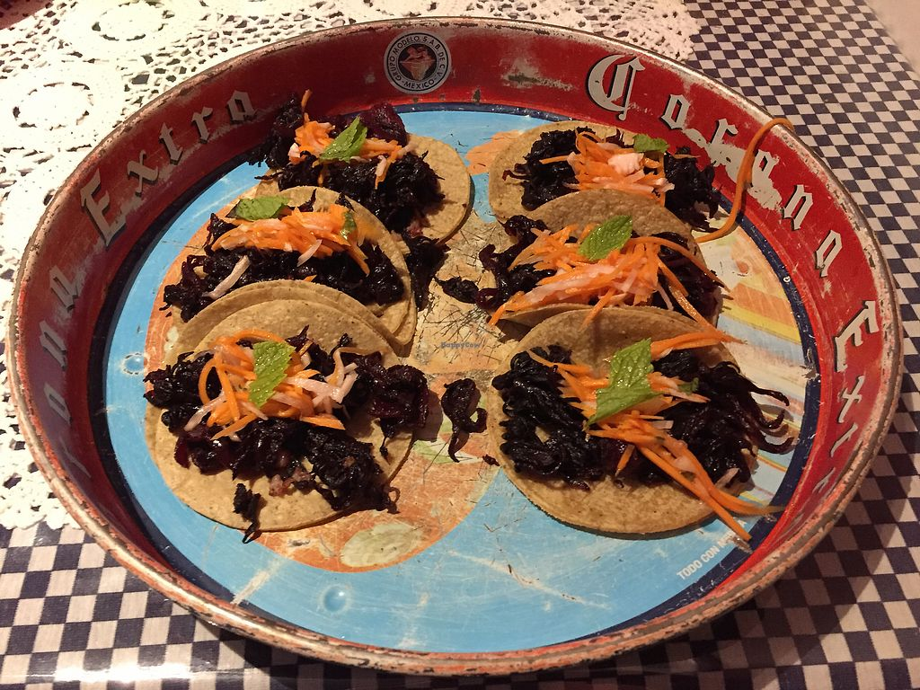 "Photo of La Tortilleria  by <a href=""/members/profile/Wuji_Luiji"">Wuji_Luiji</a> <br/>Vegan tacos - flor de Jamaica  <br/> January 20, 2018  - <a href='/contact/abuse/image/57540/349094'>Report</a>"