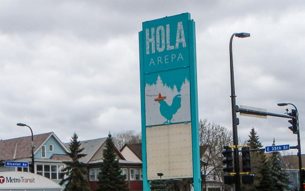 "Photo of Hola Arepa  by <a href=""/members/profile/EverydayTastiness"">EverydayTastiness</a> <br/>sign on corner <br/> April 21, 2015  - <a href='/contact/abuse/image/57613/99831'>Report</a>"