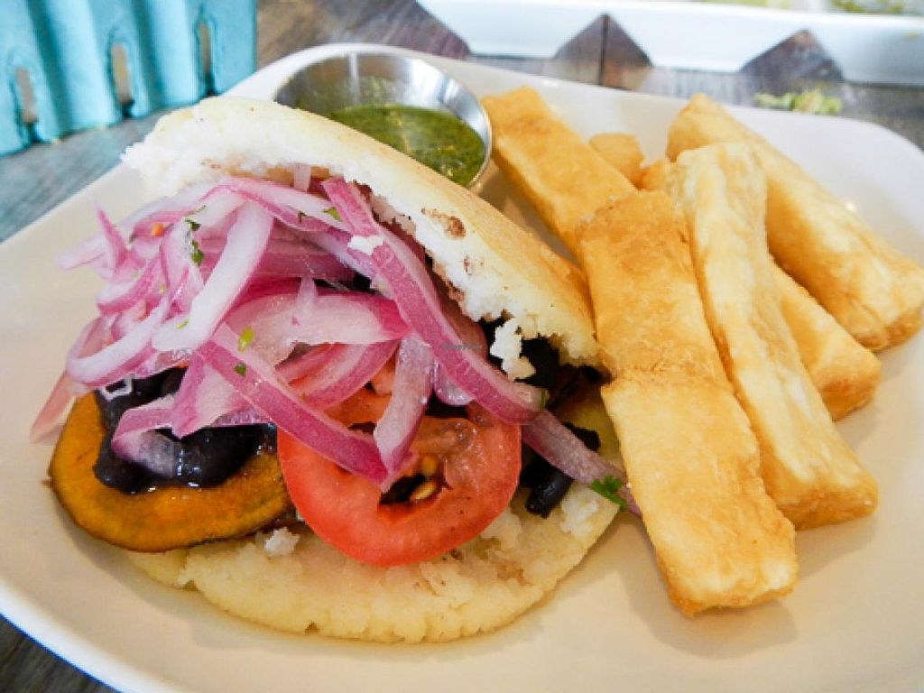 "Photo of Hola Arepa  by <a href=""/members/profile/EverydayTastiness"">EverydayTastiness</a> <br/>black bean and sweet potato arepa <br/> April 21, 2015  - <a href='/contact/abuse/image/57613/99835'>Report</a>"