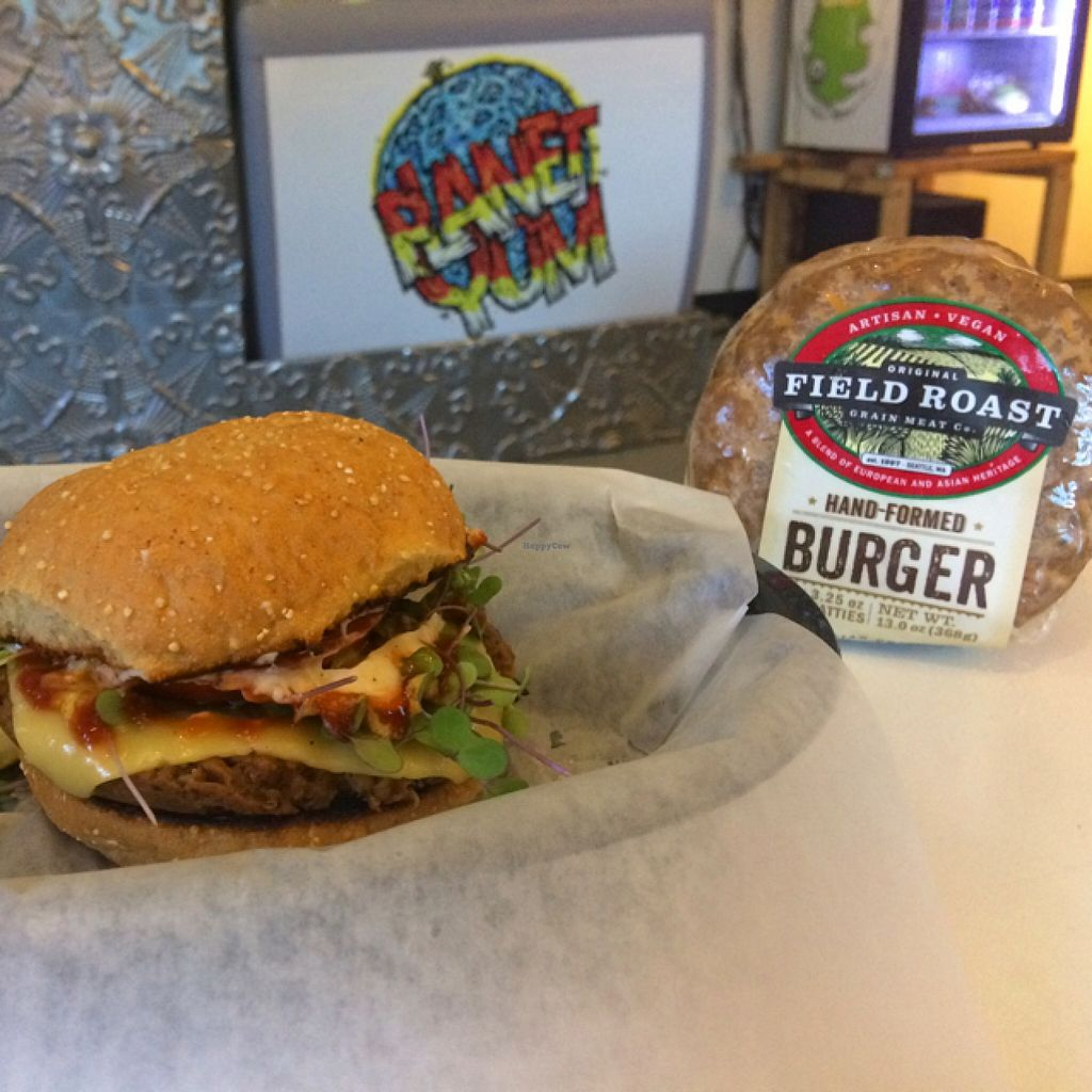 """Photo of CLOSED: Planet Yum  by <a href=""""/members/profile/planetyum"""">planetyum</a> <br/>field roast burger we also have a gluten free burger too.  <br/> November 22, 2015  - <a href='/contact/abuse/image/57629/125819'>Report</a>"""