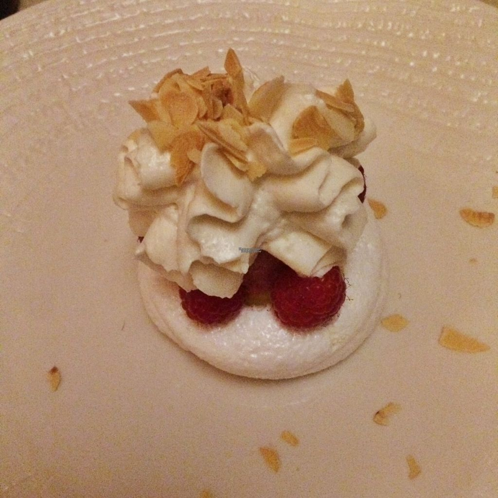"""Photo of Konnubio  by <a href=""""/members/profile/stokedonspokes"""">stokedonspokes</a> <br/>Vegan meringue, raspberry sorbet, fresh raspberry a & pineapple, and soy whipped cream <br/> September 27, 2016  - <a href='/contact/abuse/image/57650/178181'>Report</a>"""