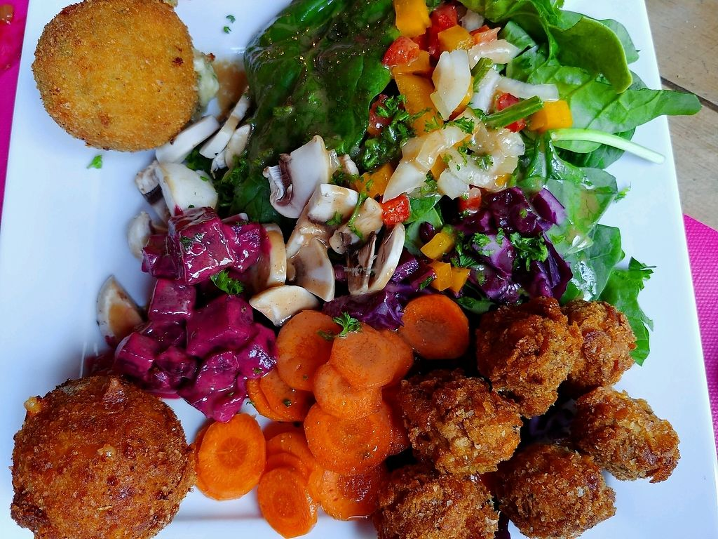 """Photo of Kick Tap'Ass  by <a href=""""/members/profile/AthenaTrombly"""">AthenaTrombly</a> <br/>fried mushrooms for vegan, fried cheese ball for vegetarian and fried cheese with bacon for meat eater <br/> April 5, 2018  - <a href='/contact/abuse/image/57652/381280'>Report</a>"""