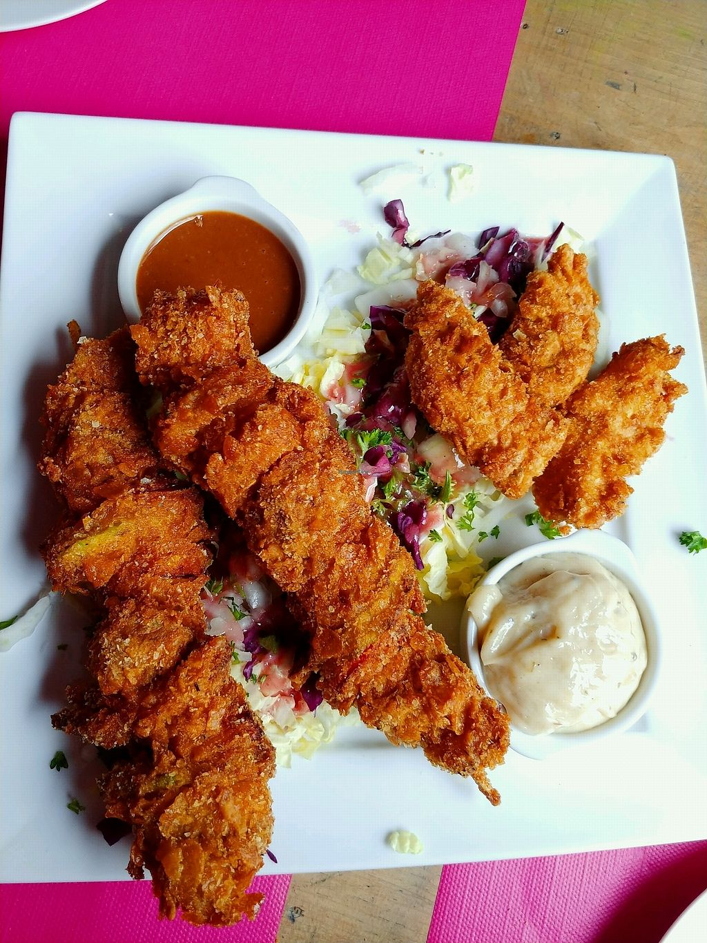 """Photo of Kick Tap'Ass  by <a href=""""/members/profile/AthenaTrombly"""">AthenaTrombly</a> <br/>Fried vegetables for vegetarian/vegan and fried chicken for meat eater <br/> April 5, 2018  - <a href='/contact/abuse/image/57652/381282'>Report</a>"""