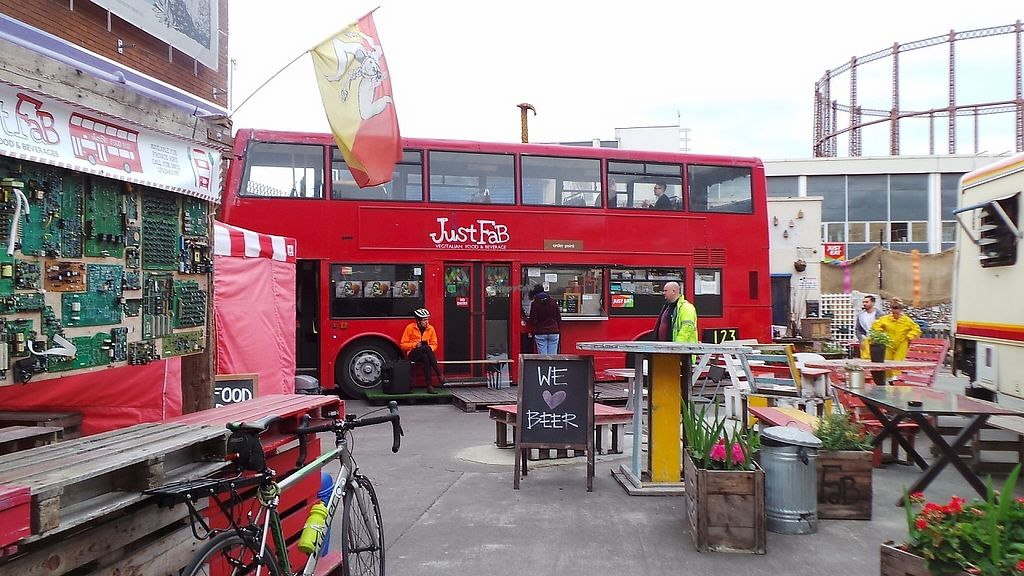 "Photo of Just FaB - Food Bus  by <a href=""/members/profile/AngelaDust"">AngelaDust</a> <br/>JustFab doubledecker vegan restaurant in London <br/> May 5, 2017  - <a href='/contact/abuse/image/57709/255842'>Report</a>"