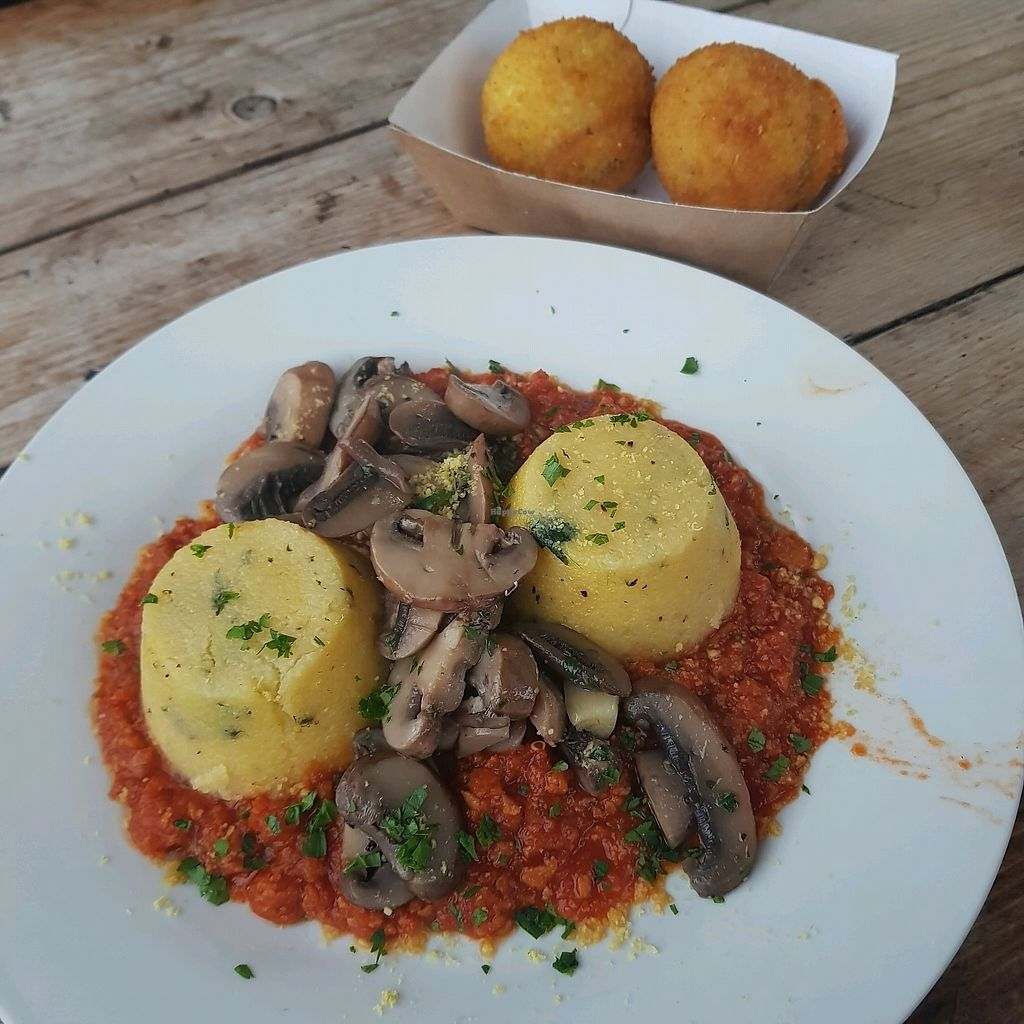 "Photo of Just FaB - Food Bus  by <a href=""/members/profile/Sassyvegan"">Sassyvegan</a> <br/>Polenta and arancini <br/> September 24, 2017  - <a href='/contact/abuse/image/57709/307641'>Report</a>"
